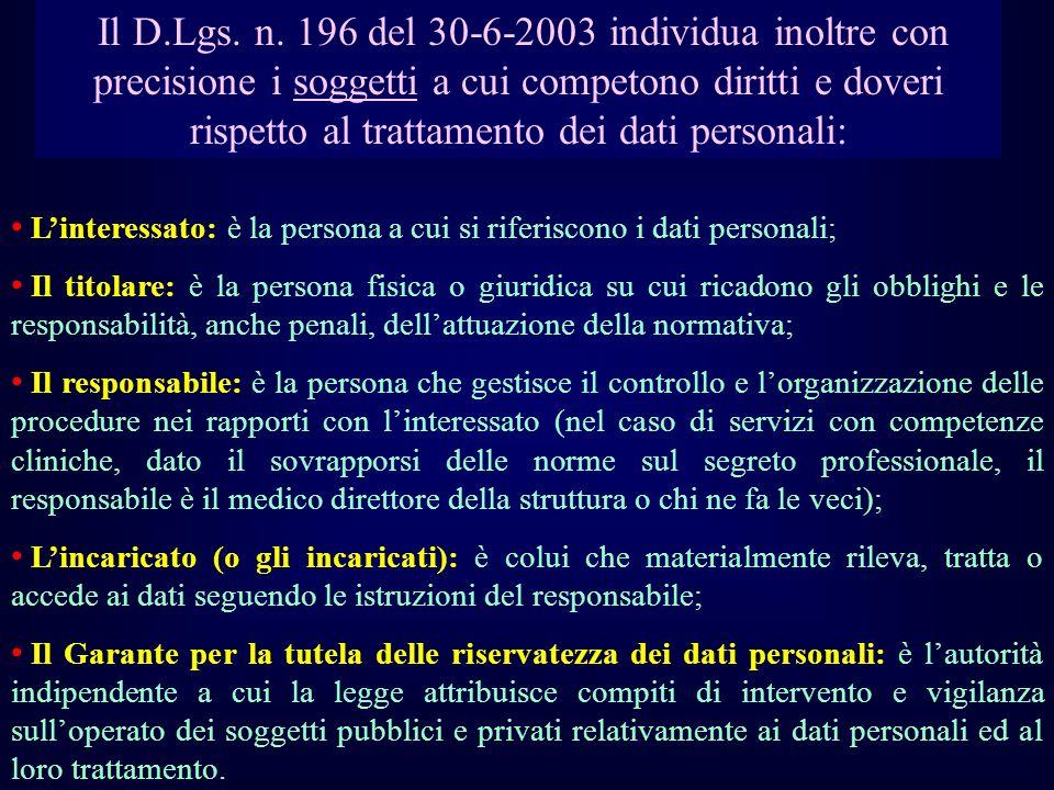 Il D.Lgs. n. 196 del 30-6-2003 individua inoltre con precisione i soggetti a cui competono diritti e doveri rispetto al trattamento dei dati personali