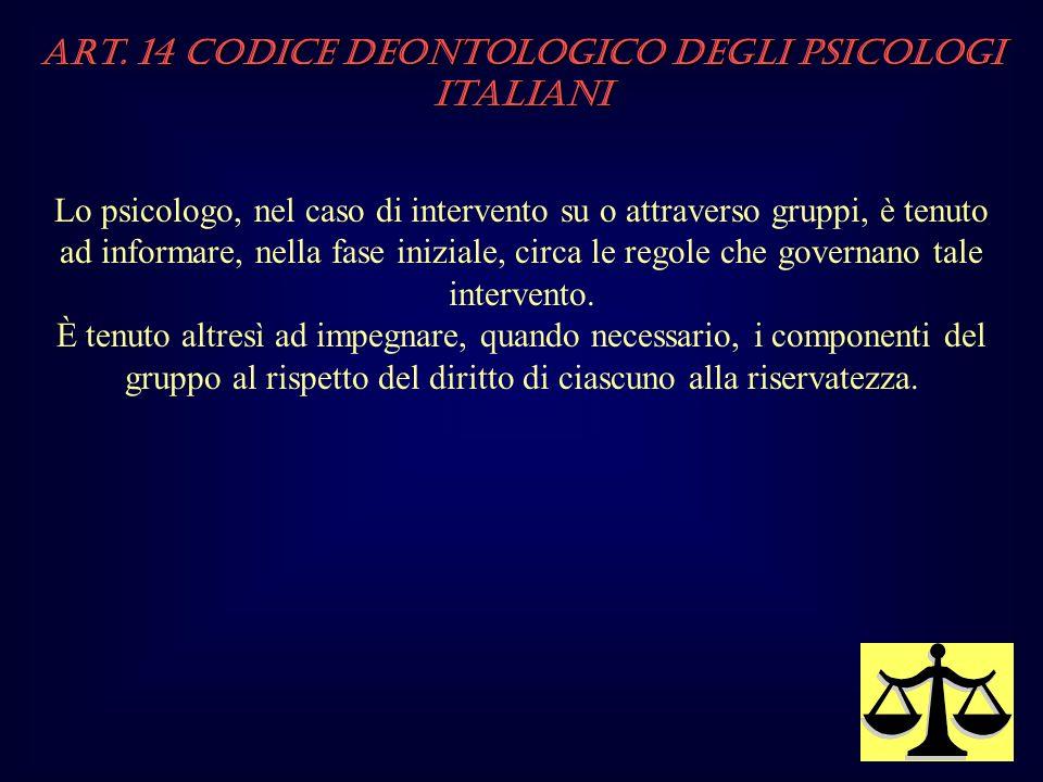 Art. 14 Codice Deontologico degli Psicologi italiani Lo psicologo, nel caso di intervento su o attraverso gruppi, è tenuto ad informare, nella fase in