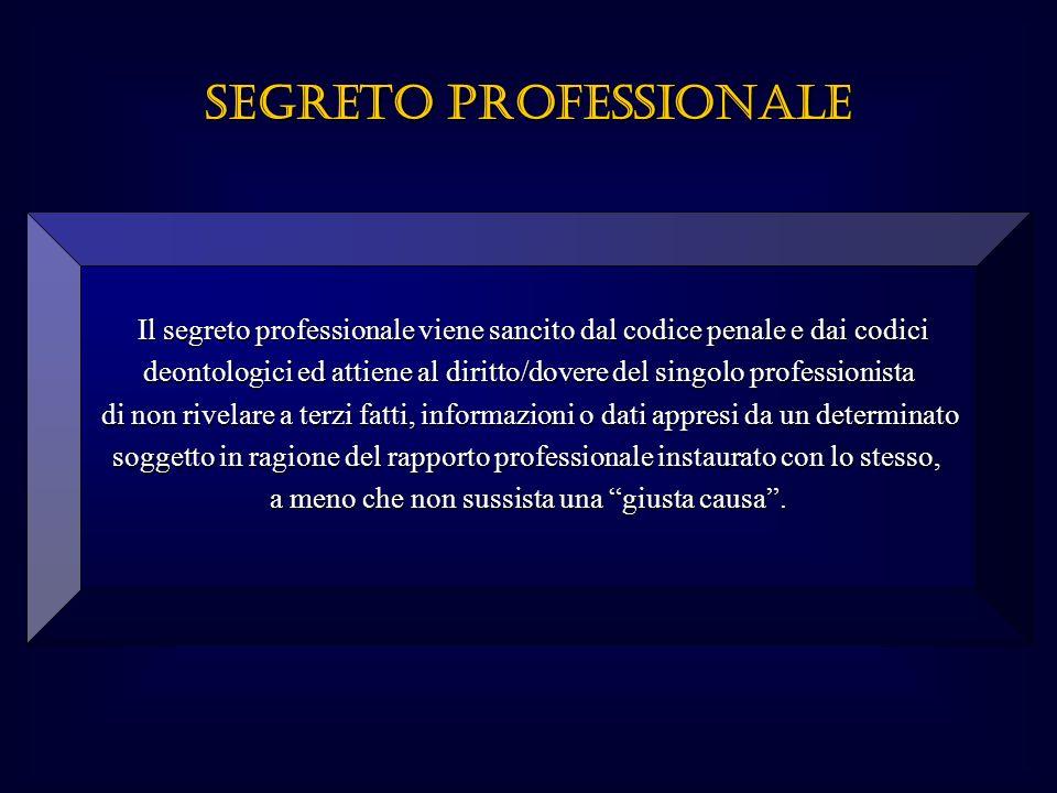 Il segreto professionale viene sancito dal codice penale e dai codici deontologici ed attiene al diritto/dovere del singolo professionista di non rive