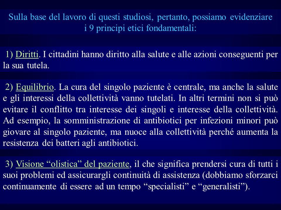 Sulla base del lavoro di questi studiosi, pertanto, possiamo evidenziare i 9 principi etici fondamentali: 1) Diritti. I cittadini hanno diritto alla s