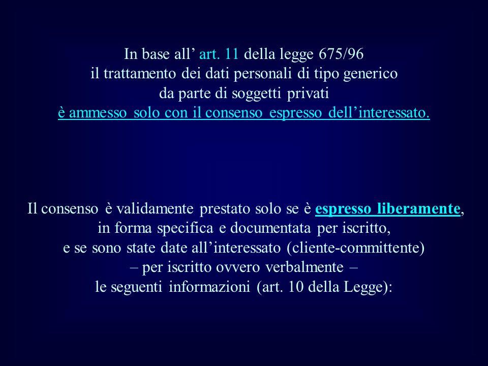 In base all art. 11 della legge 675/96 il trattamento dei dati personali di tipo generico da parte di soggetti privati è ammesso solo con il consenso