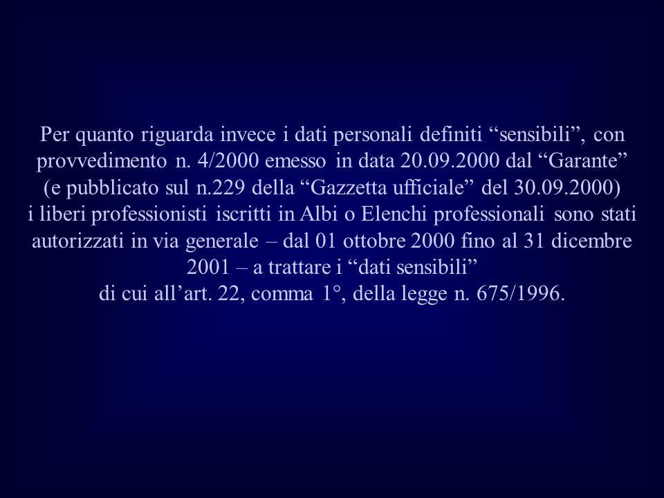 Per quanto riguarda invece i dati personali definiti sensibili, con provvedimento n. 4/2000 emesso in data 20.09.2000 dal Garante (e pubblicato sul n.