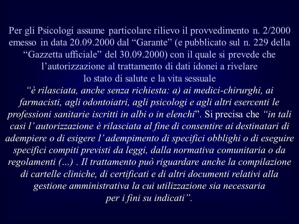 Per gli Psicologi assume particolare rilievo il provvedimento n. 2/2000 emesso in data 20.09.2000 dal Garante (e pubblicato sul n. 229 della Gazzetta