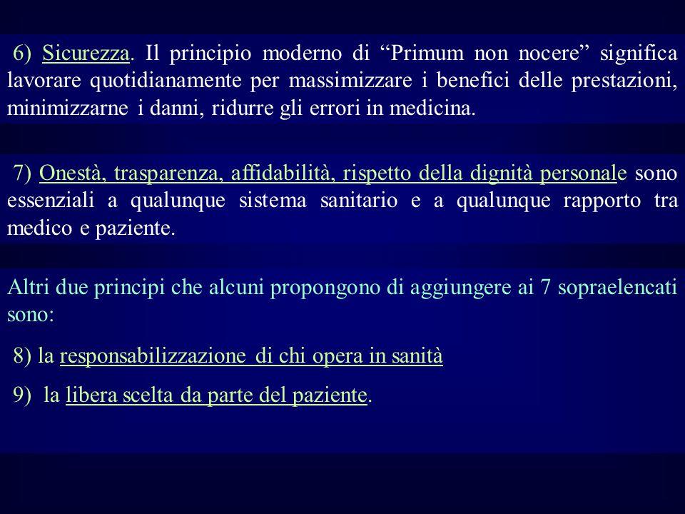 6) Sicurezza. Il principio moderno di Primum non nocere significa lavorare quotidianamente per massimizzare i benefici delle prestazioni, minimizzarne