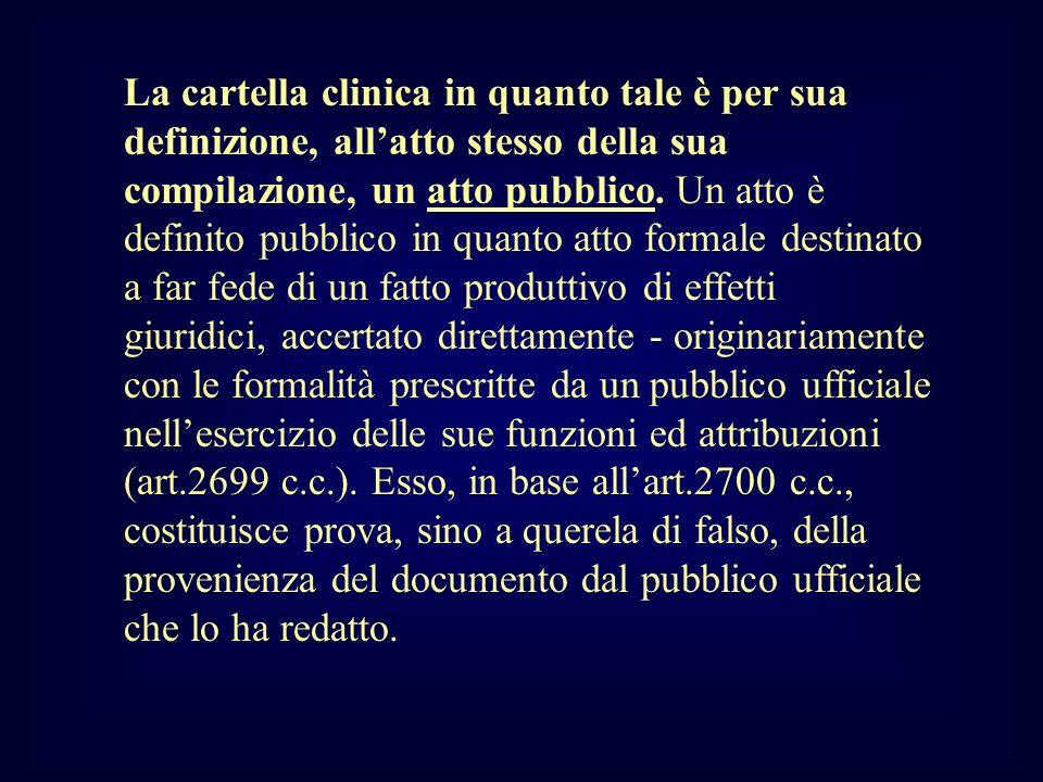 La cartella clinica in quanto tale è per sua definizione, allatto stesso della sua compilazione, un atto pubblico. Un atto è definito pubblico in quan