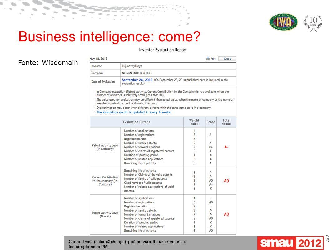 Come il web (sciencXchange) può attivare il trasferimento di tecnologie nelle PMI /20 Business intelligence: come.