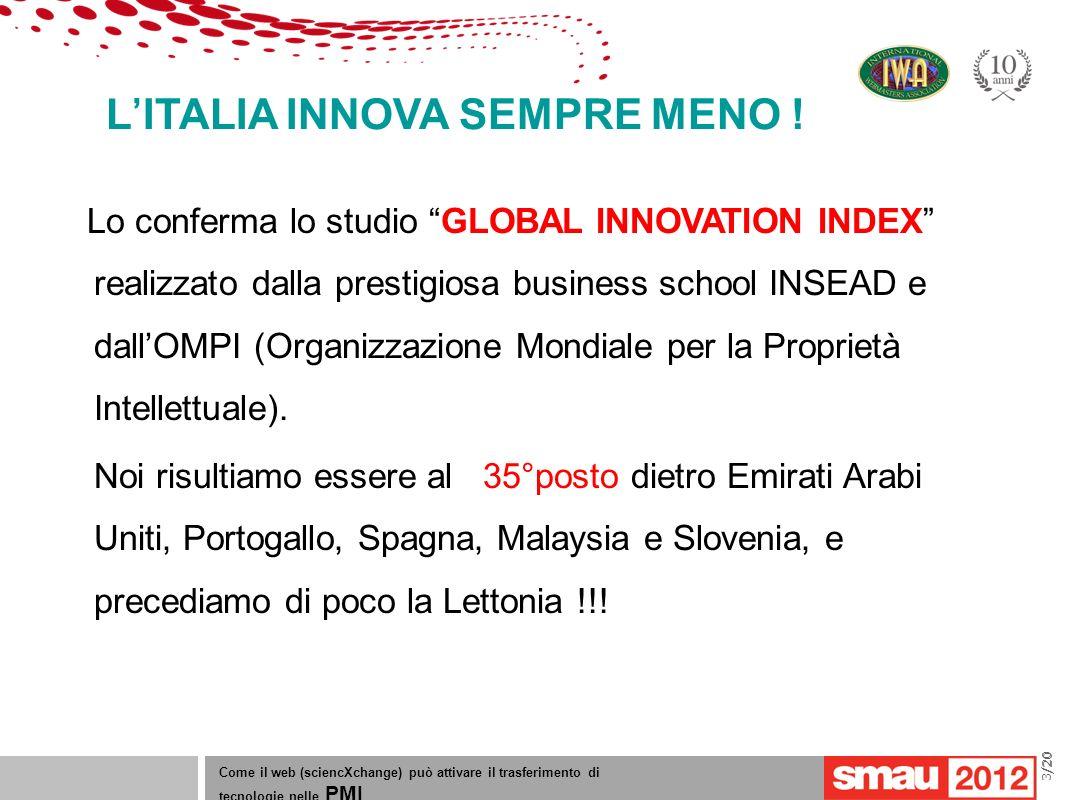 09/05/12 Titolo della presentazione /20 LITALIA INNOVA SEMPRE MENO ! Come il web (sciencXchange) può attivare il trasferimento di tecnologie nelle PMI