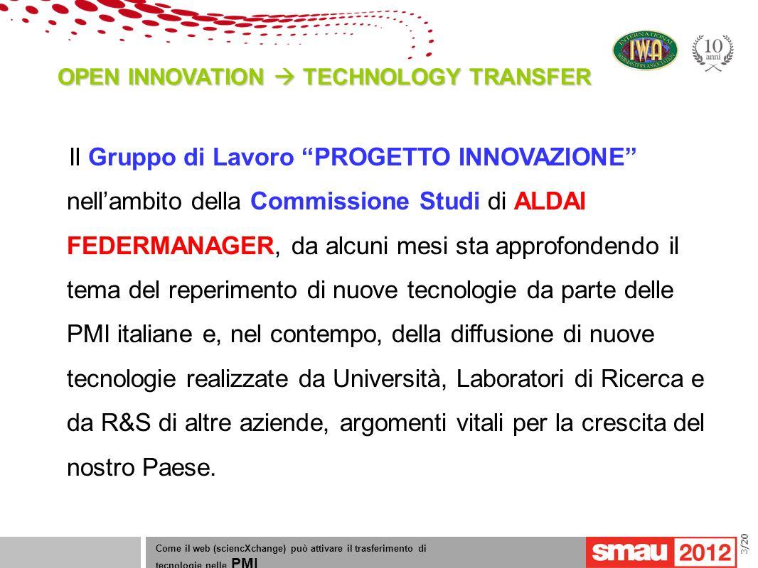 09/05/12 Titolo della presentazione /20 OPEN INNOVATION TECHNOLOGY TRANSFER Come il web (sciencXchange) può attivare il trasferimento di tecnologie nelle PMI 3/20 Il Gruppo di Lavoro PROGETTO INNOVAZIONE nellambito della Commissione Studi di ALDAI FEDERMANAGER, da alcuni mesi sta approfondendo il tema del reperimento di nuove tecnologie da parte delle PMI italiane e, nel contempo, della diffusione di nuove tecnologie realizzate da Università, Laboratori di Ricerca e da R&S di altre aziende, argomenti vitali per la crescita del nostro Paese.