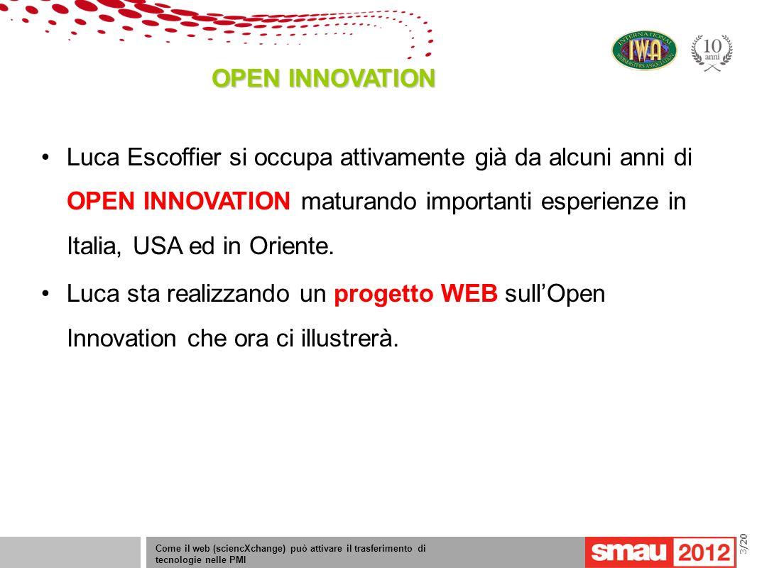 09/05/12 Titolo della presentazione /20 OPEN INNOVATION Come il web (sciencXchange) può attivare il trasferimento di tecnologie nelle PMI 3/20 Luca Es