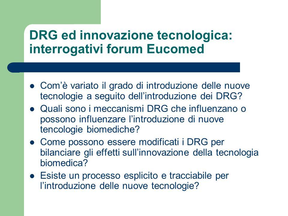 DRG ed innovazione tecnologica: interrogativi forum Eucomed Comè variato il grado di introduzione delle nuove tecnologie a seguito dellintroduzione dei DRG.