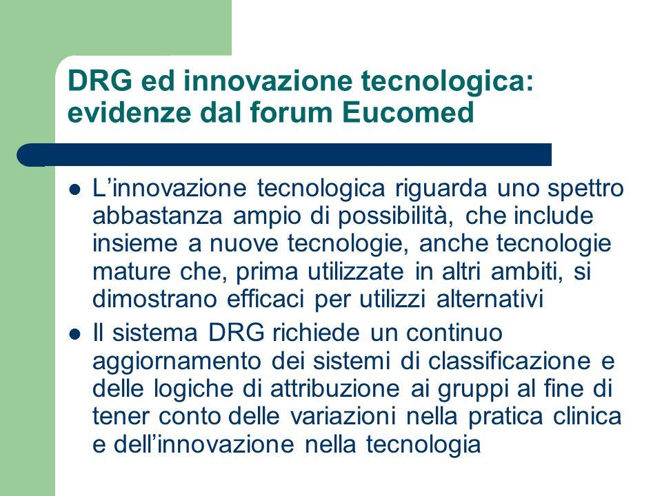 DRG ed innovazione tecnologica: evidenze dal forum Eucomed Linnovazione tecnologica riguarda uno spettro abbastanza ampio di possibilità, che include insieme a nuove tecnologie, anche tecnologie mature che, prima utilizzate in altri ambiti, si dimostrano efficaci per utilizzi alternativi Il sistema DRG richiede un continuo aggiornamento dei sistemi di classificazione e delle logiche di attribuzione ai gruppi al fine di tener conto delle variazioni nella pratica clinica e dellinnovazione nella tecnologia