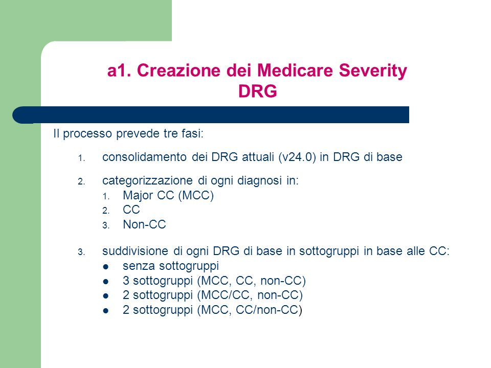 Il processo prevede tre fasi: 1.consolidamento dei DRG attuali (v24.0) in DRG di base 2.