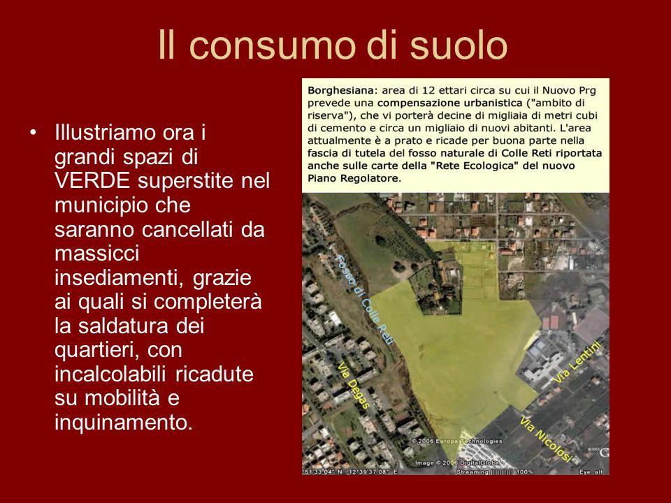 Il consumo di suolo Illustriamo ora i grandi spazi di VERDE superstite nel municipio che saranno cancellati da massicci insediamenti, grazie ai quali