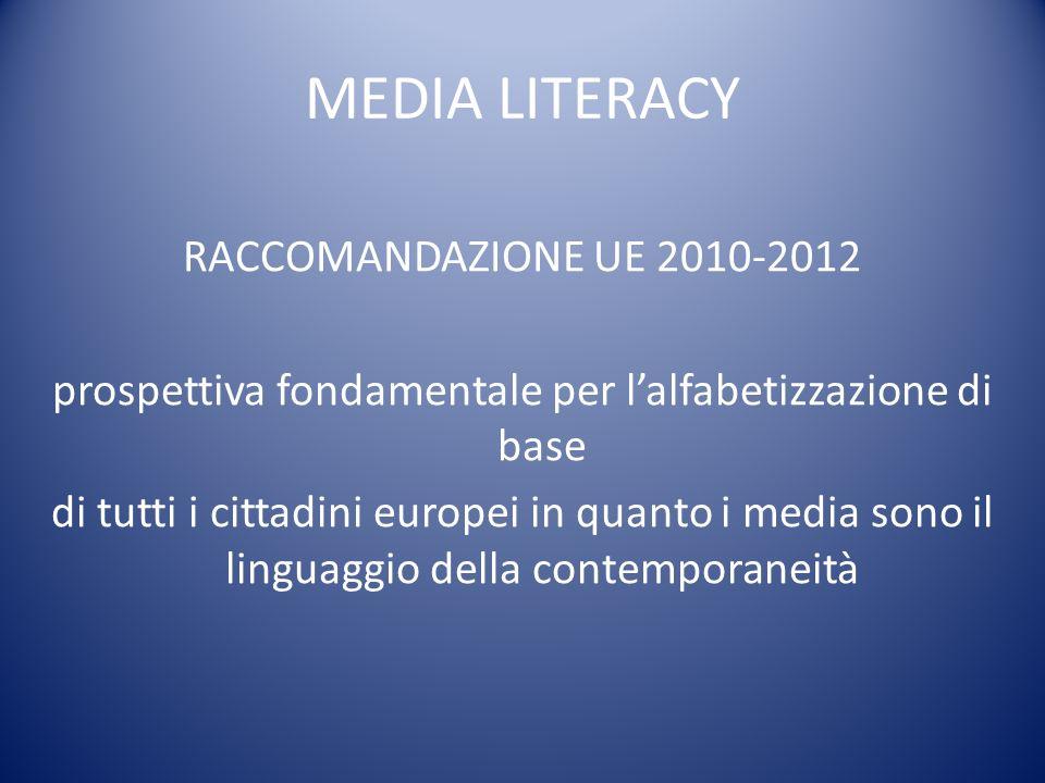 MEDIA LITERACY RACCOMANDAZIONE UE 2010-2012 prospettiva fondamentale per lalfabetizzazione di base di tutti i cittadini europei in quanto i media sono