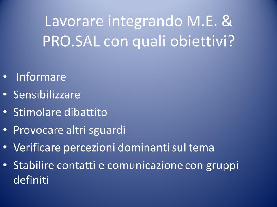 Lavorare integrando M.E. & PRO.SAL con quali obiettivi? Informare Sensibilizzare Stimolare dibattito Provocare altri sguardi Verificare percezioni dom