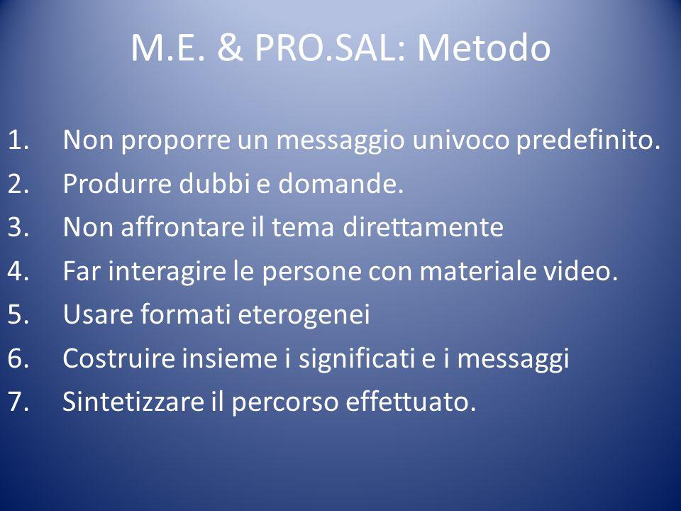 M.E. & PRO.SAL: Metodo 1.Non proporre un messaggio univoco predefinito. 2.Produrre dubbi e domande. 3.Non affrontare il tema direttamente 4.Far intera