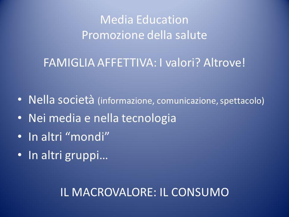 Media Education Promozione della salute FAMIGLIA AFFETTIVA: I valori? Altrove! Nella società (informazione, comunicazione, spettacolo) Nei media e nel