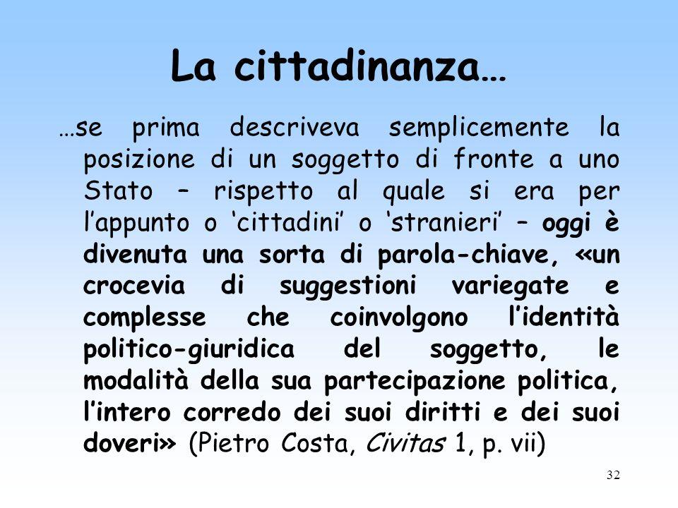 32 La cittadinanza… …se prima descriveva semplicemente la posizione di un soggetto di fronte a uno Stato – rispetto al quale si era per lappunto o cit