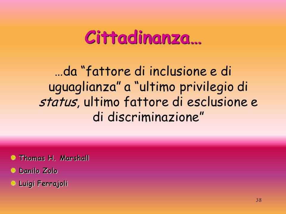 38 Cittadinanza… …da fattore di inclusione e di uguaglianza a ultimo privilegio di status, ultimo fattore di esclusione e di discriminazione Thomas H.