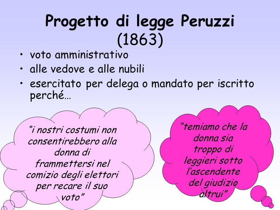 60 Progetto di legge Peruzzi (1863) voto amministrativo alle vedove e alle nubili esercitato per delega o mandato per iscritto perché… i nostri costum