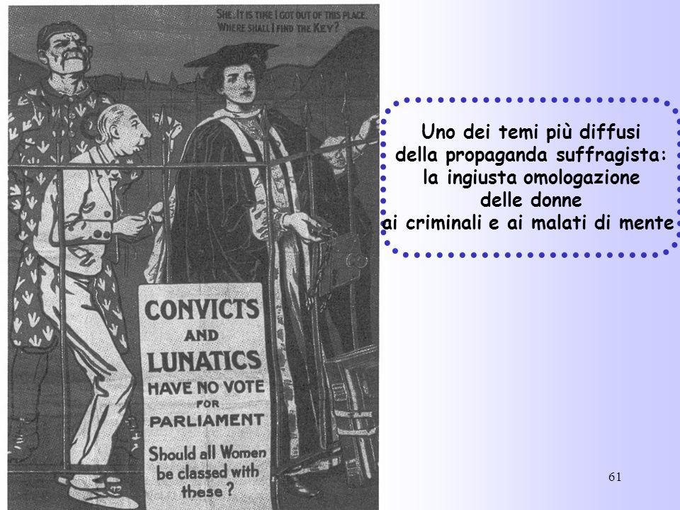 61 Uno dei temi più diffusi della propaganda suffragista: la ingiusta omologazione delle donne ai criminali e ai malati di mente