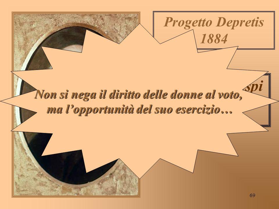 69 Francesco Crispi 1887 Progetto Depretis 1884 Non si nega il diritto delle donne al voto, ma lopportunità del suo esercizio…