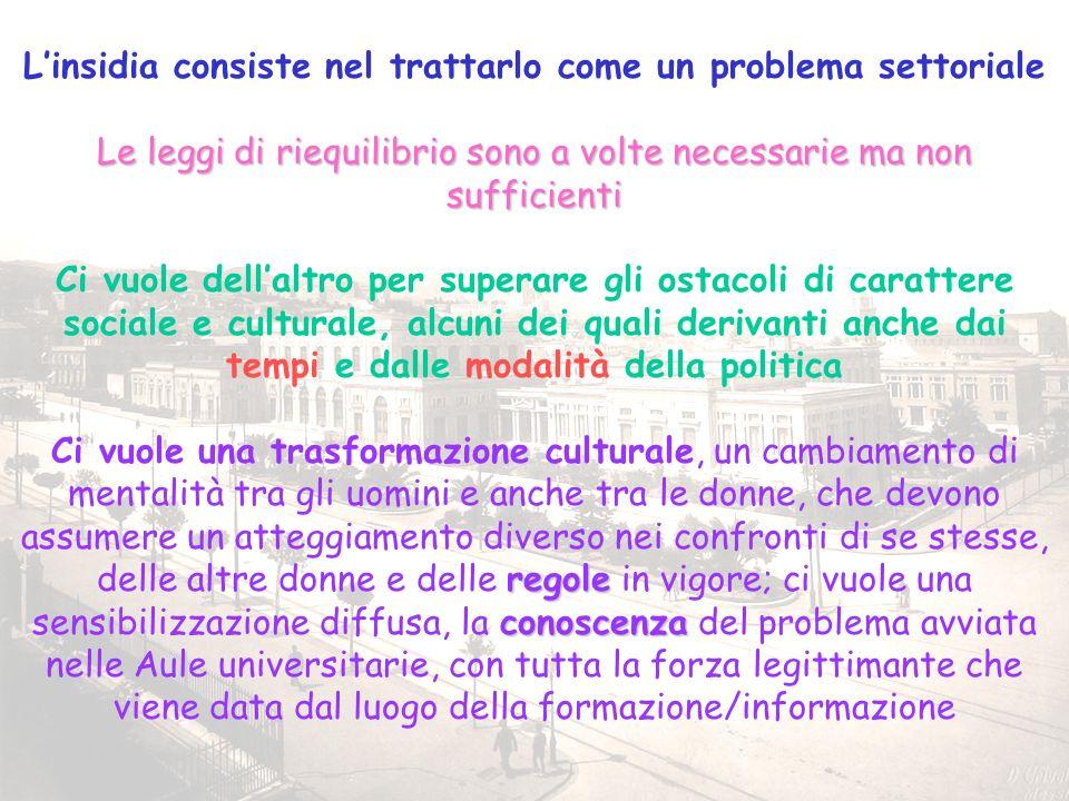 7 Linsidia consiste nel trattarlo come un problema settoriale Le leggi di riequilibrio sono a volte necessarie ma non sufficienti Ci vuole dellaltro p