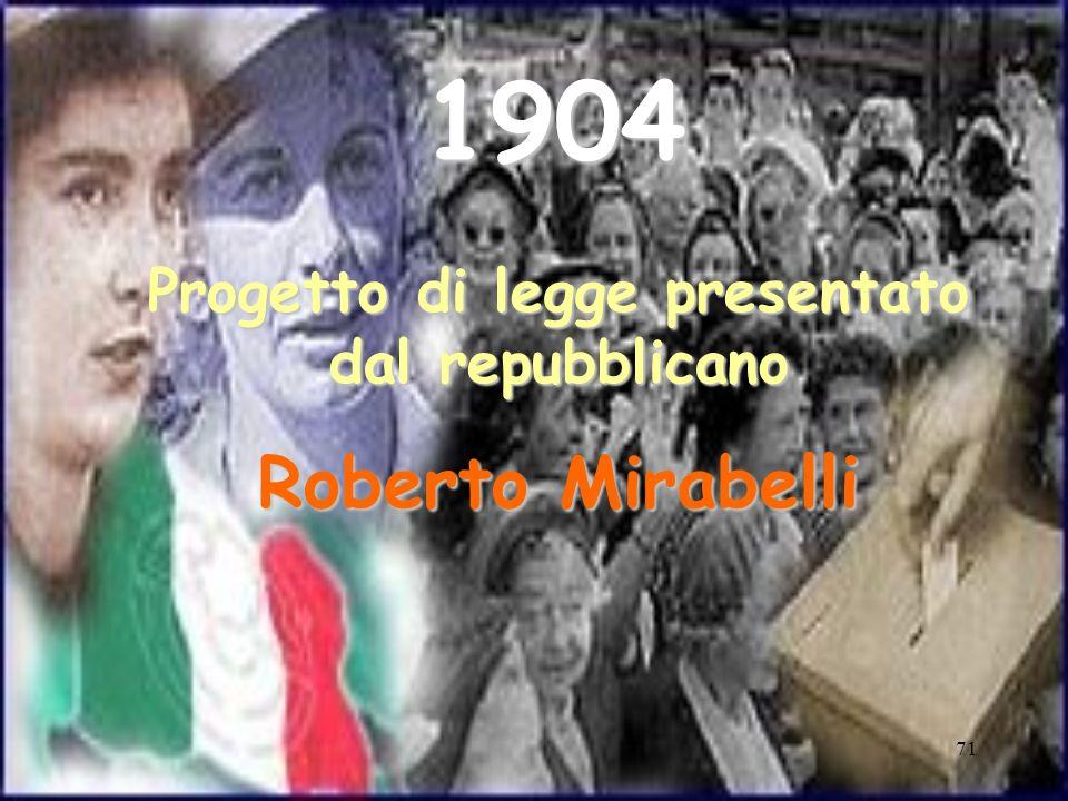 71 1904 Progetto di legge presentato dal repubblicano Roberto Mirabelli
