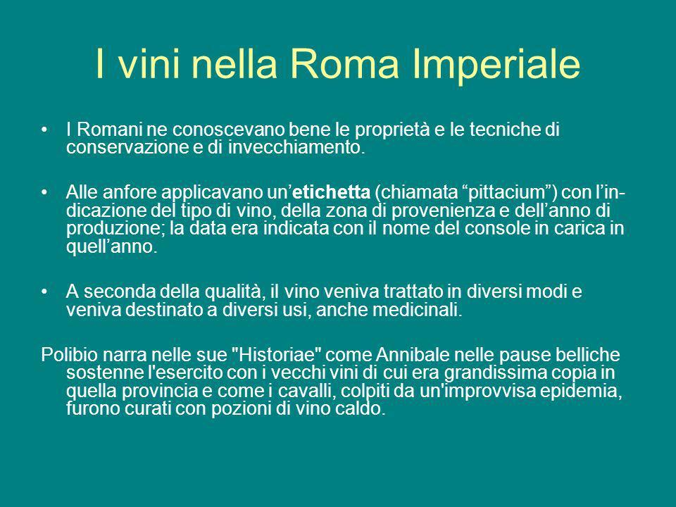 I vini nella Roma Imperiale I Romani ne conoscevano bene le proprietà e le tecniche di conservazione e di invecchiamento. Alle anfore applicavano unet