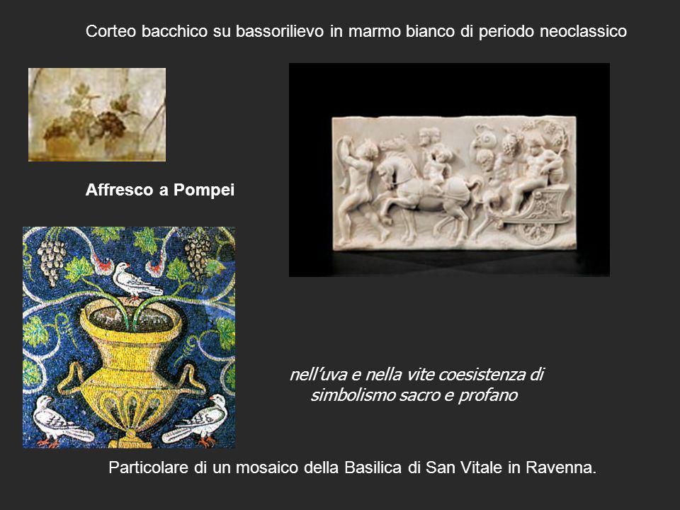Particolare di un mosaico della Basilica di San Vitale in Ravenna. Corteo bacchico su bassorilievo in marmo bianco di periodo neoclassico Affresco a P