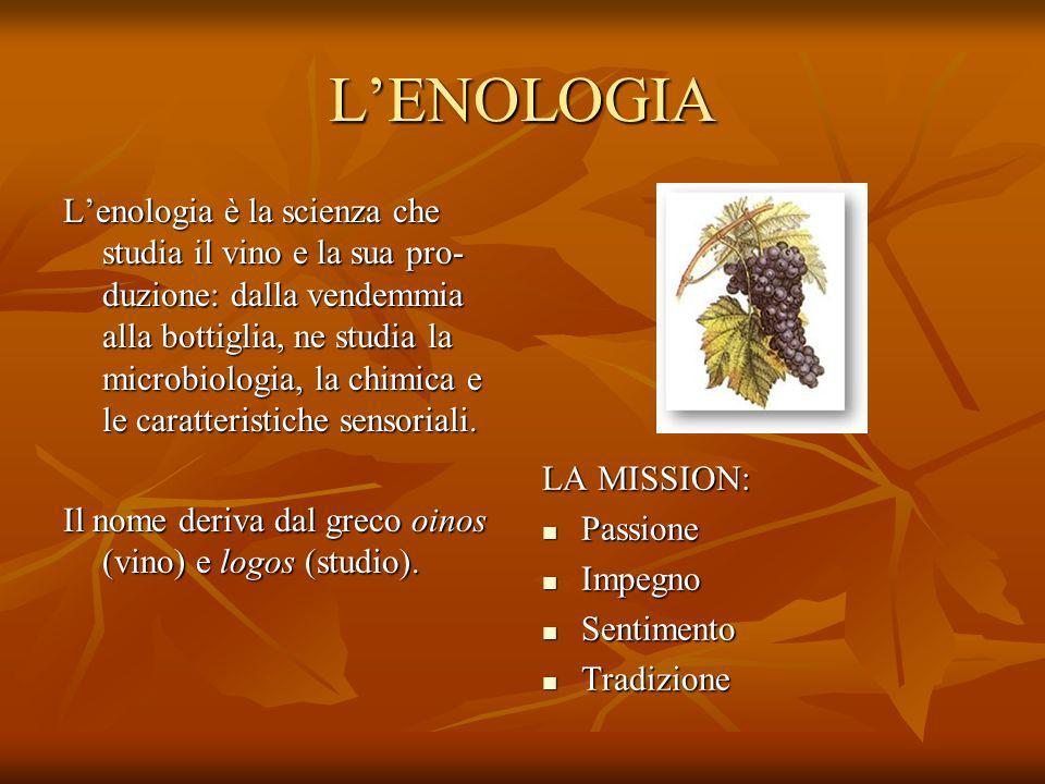 LENOLOGIA Lenologia è la scienza che studia il vino e la sua pro- duzione: dalla vendemmia alla bottiglia, ne studia la microbiologia, la chimica e le