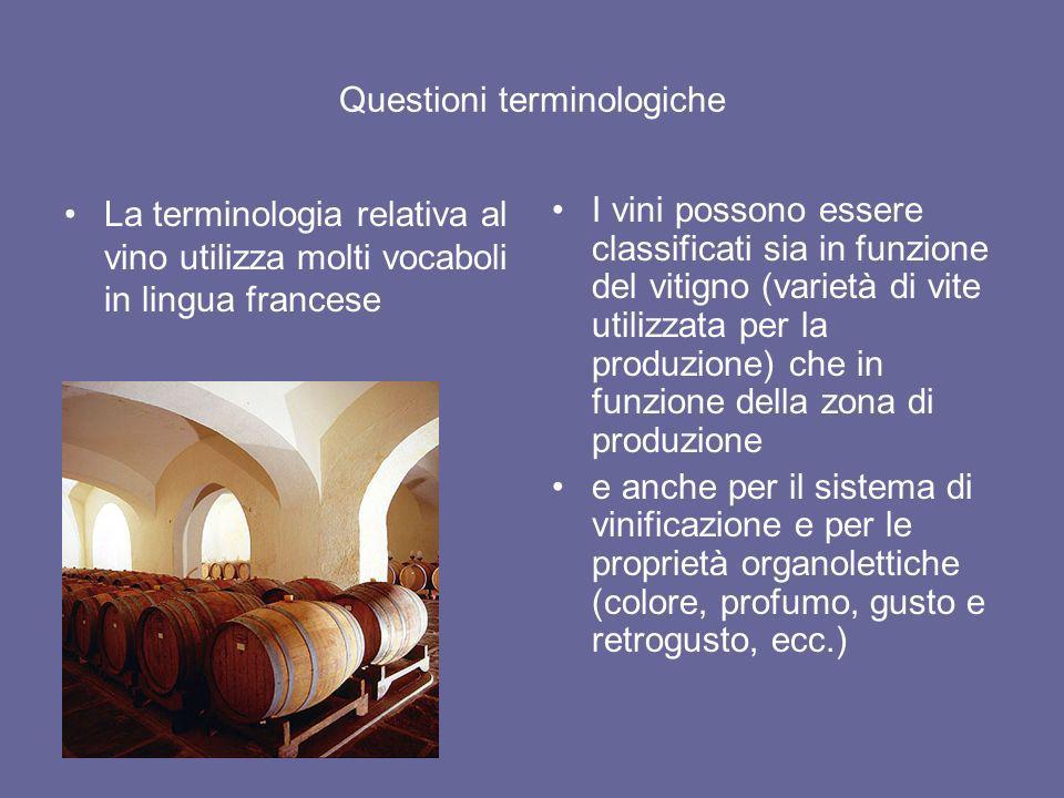 Questioni terminologiche La terminologia relativa al vino utilizza molti vocaboli in lingua francese I vini possono essere classificati sia in funzion