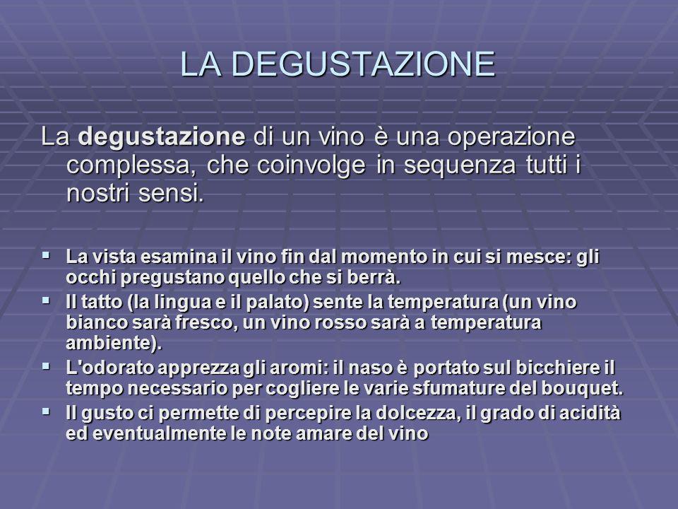 LA DEGUSTAZIONE La degustazione di un vino è una operazione complessa, che coinvolge in sequenza tutti i nostri sensi. La vista esamina il vino fin da