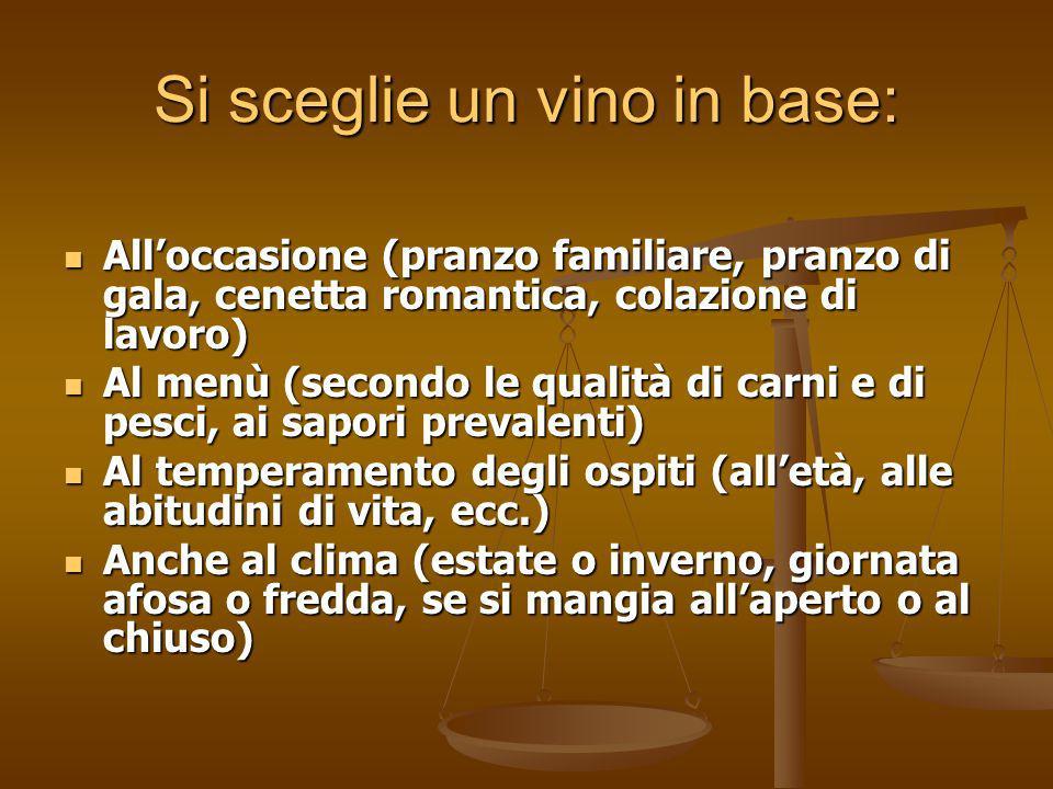 Si sceglie un vino in base: Alloccasione (pranzo familiare, pranzo di gala, cenetta romantica, colazione di lavoro) Alloccasione (pranzo familiare, pr