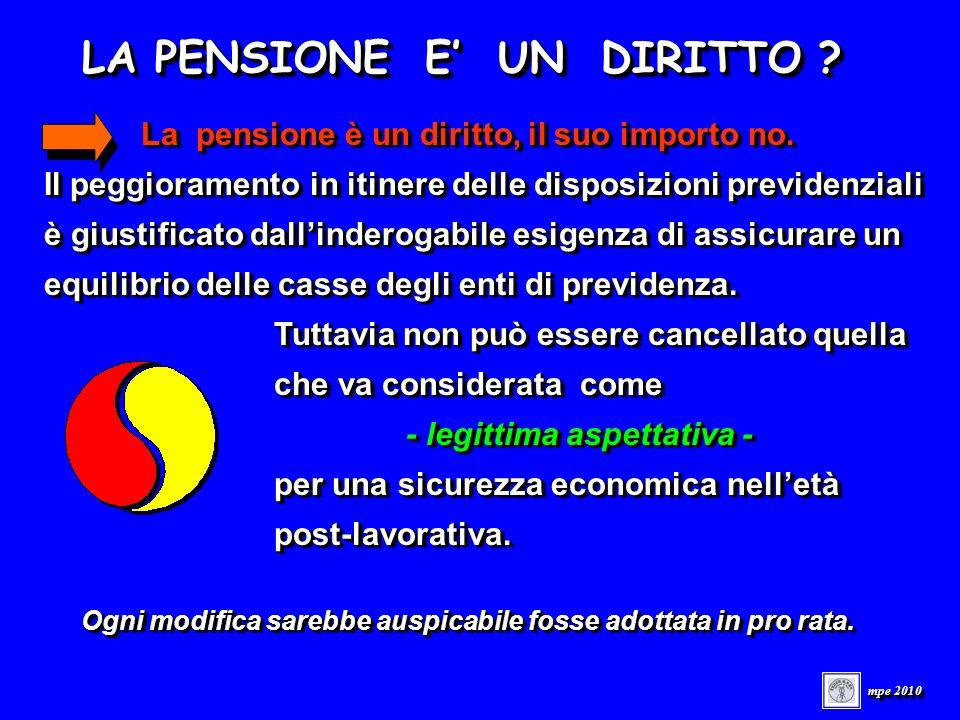 LA PENSIONE E UN DIRITTO . mpe 2010 La pensione è un diritto, il suo importo no.