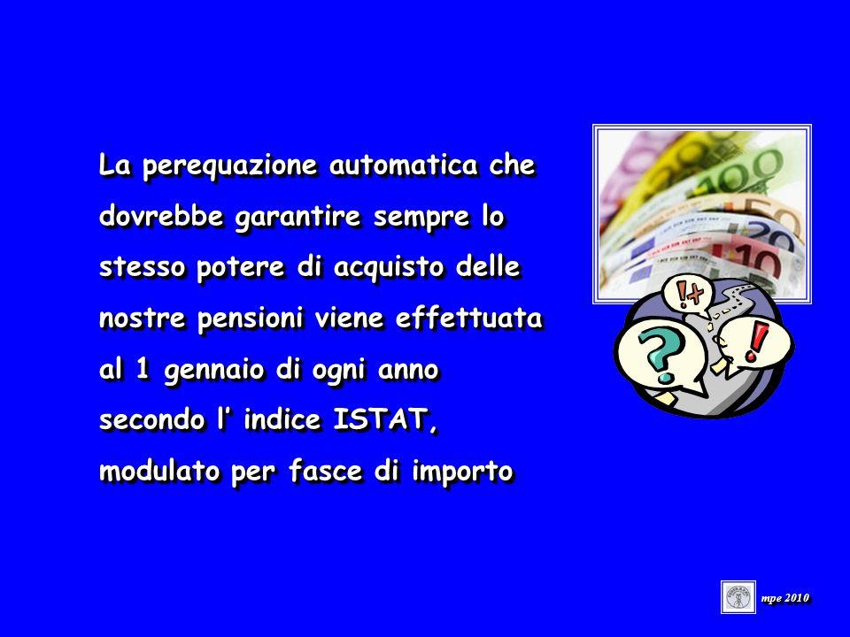 La perequazione automatica che dovrebbe garantire sempre lo stesso potere di acquisto delle nostre pensioni viene effettuata al 1 gennaio di ogni anno secondo l indice ISTAT, modulato per fasce di importo