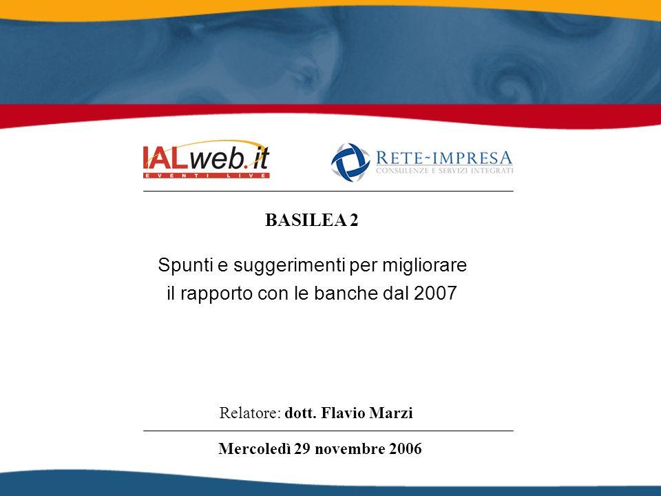 BASILEA 2 Relatore: dott. Flavio Marzi Mercoledì 29 novembre 2006 Spunti e suggerimenti per migliorare il rapporto con le banche dal 2007