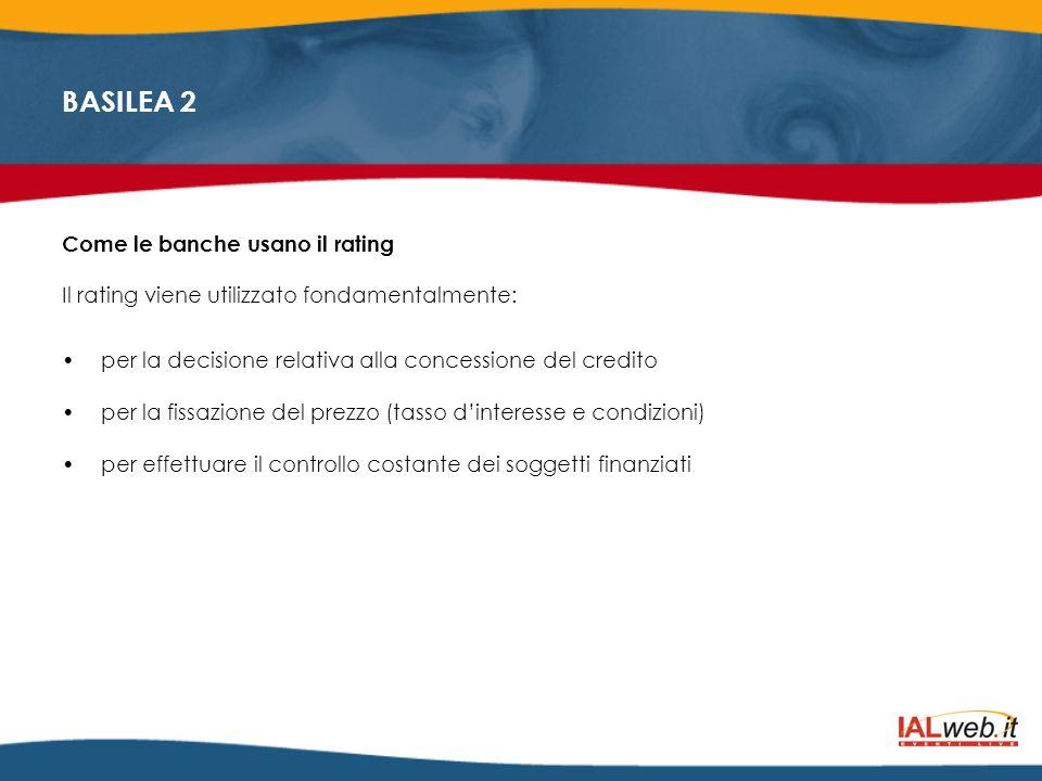 Come le banche usano il rating Il rating viene utilizzato fondamentalmente: per la decisione relativa alla concessione del credito per la fissazione d