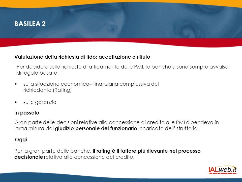 BASILEA 2 Valutazione della richiesta di fido: accettazione o rifiuto Per decidere sulle richieste di affidamento delle PMI, le banche si sono sempre
