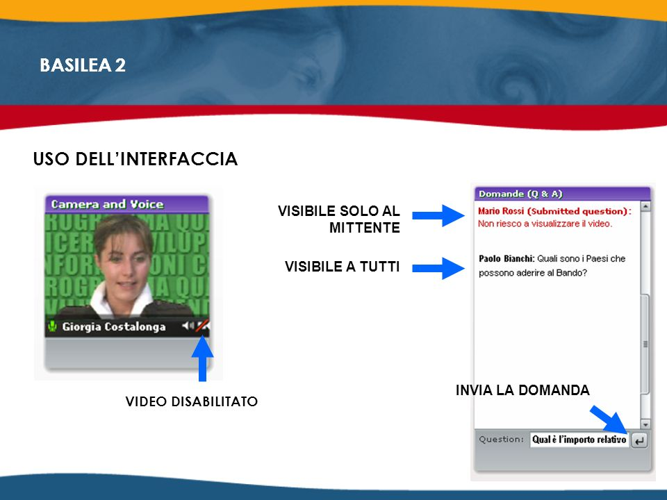 BASILEA 2 USO DELLINTERFACCIA VIDEO DISABILITATO VISIBILE SOLO AL MITTENTE VISIBILE A TUTTI INVIA LA DOMANDA BASILEA 2