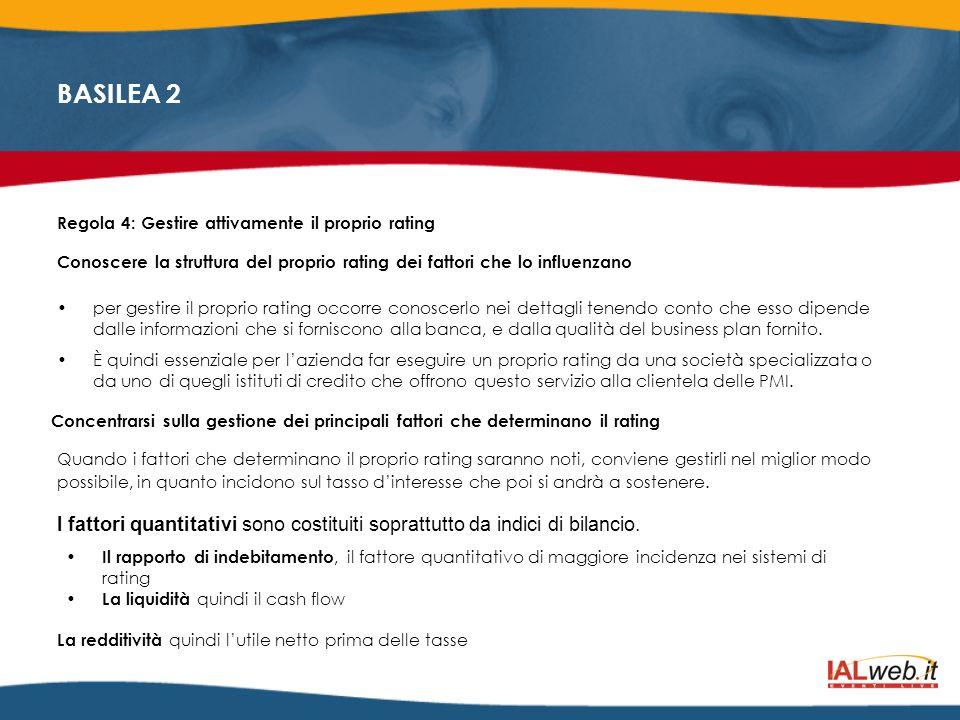 BASILEA 2 Regola 4: Gestire attivamente il proprio rating Conoscere la struttura del proprio rating dei fattori che lo influenzano per gestire il prop