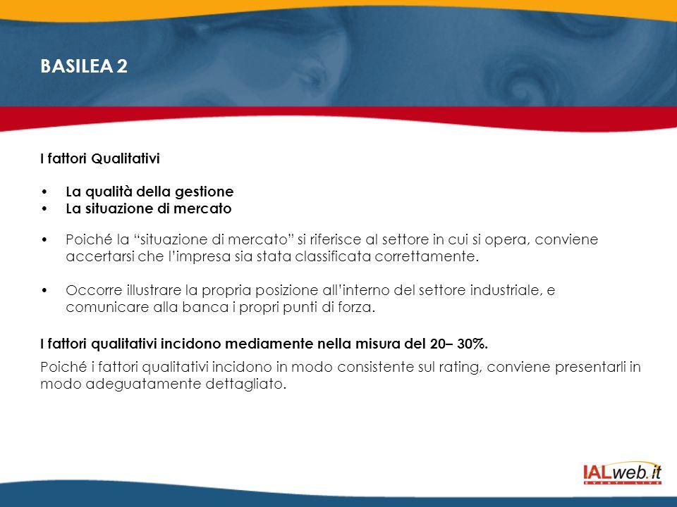 BASILEA 2 I fattori Qualitativi La qualità della gestione La situazione di mercato Poiché la situazione di mercato si riferisce al settore in cui si o