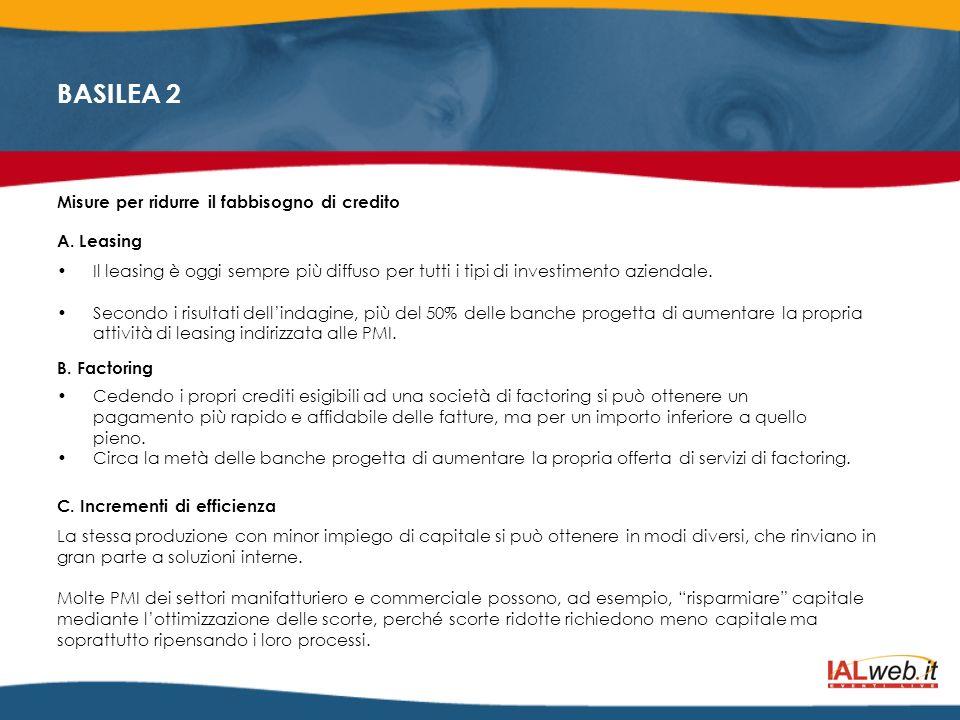 BASILEA 2 Misure per ridurre il fabbisogno di credito A. Leasing Il leasing è oggi sempre più diffuso per tutti i tipi di investimento aziendale. Seco