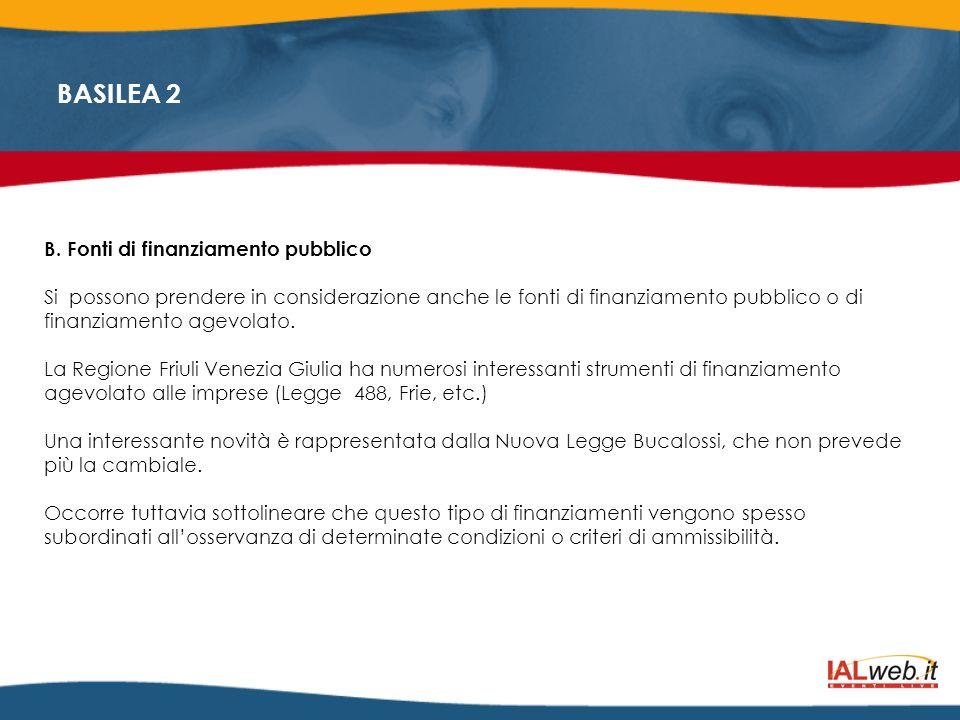 BASILEA 2 B. Fonti di finanziamento pubblico Si possono prendere in considerazione anche le fonti di finanziamento pubblico o di finanziamento agevola