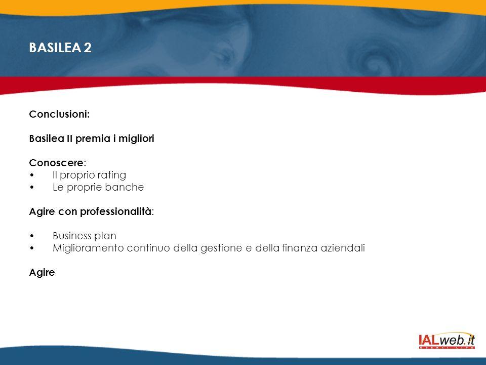 BASILEA 2 Conclusioni: Basilea II premia i migliori Conoscere : Il proprio rating Le proprie banche Agire con professionalità : Business plan Migliora