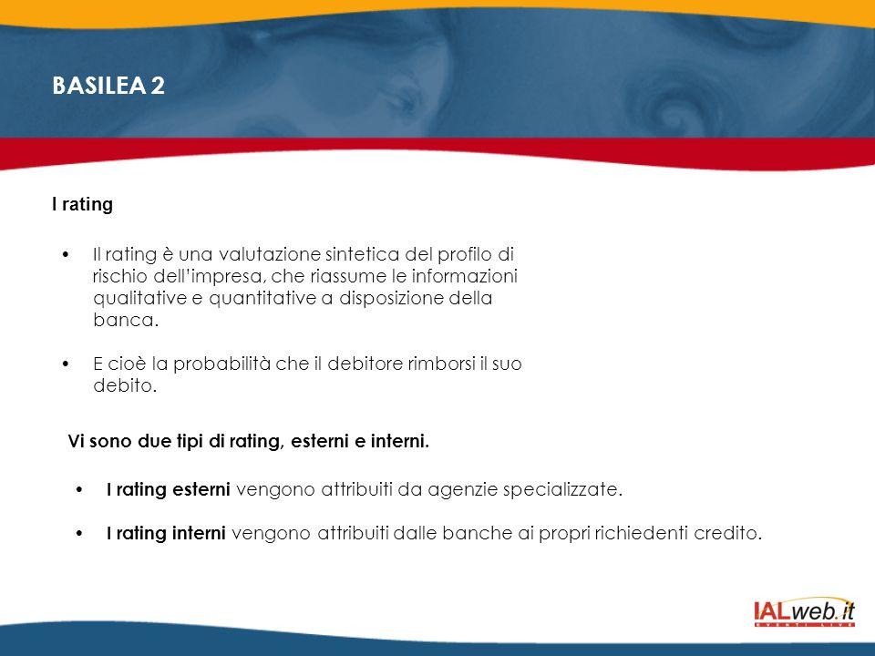 BASILEA 2 Regola 4: Gestire attivamente il proprio rating Conoscere la struttura del proprio rating dei fattori che lo influenzano per gestire il proprio rating occorre conoscerlo nei dettagli tenendo conto che esso dipende dalle informazioni che si forniscono alla banca, e dalla qualità del business plan fornito.