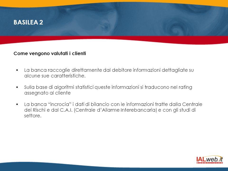 BASILEA 2 Le informazioni raccolte dalle banche comprendono di norma le caratteristiche quantitative qualitative A.