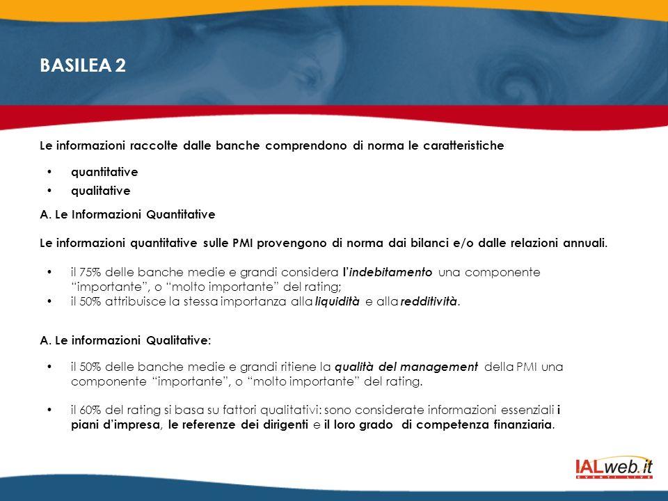 BASILEA 2 Le informazioni raccolte dalle banche comprendono di norma le caratteristiche quantitative qualitative A. Le Informazioni Quantitative Le in