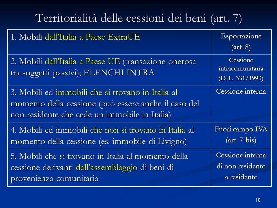 10 Territorialità delle cessioni dei beni (art.7) 1.