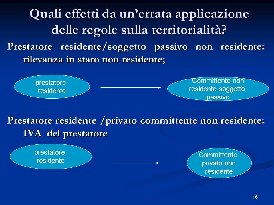 16 Quali effetti da unerrata applicazione delle regole sulla territorialità.